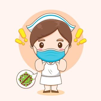 Śliczna pielęgniarka walcząca z kreskówką wirusa