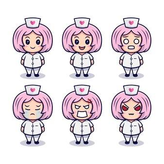 Śliczna pielęgniarka z zestawem różnych wyrażeń