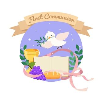 Śliczna pierwsza ilustracja komunii z kielichem biblijnym chlebem i winem