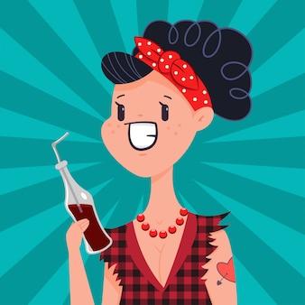 Śliczna pin up dziewczyna z tatuażem pije wodę sodową. wektor kobieta kreskówka w stylu vintage pop-artu