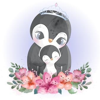 Śliczna pingwin matka, dziecko i