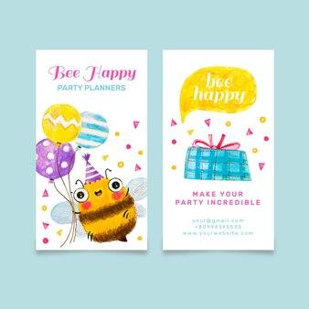 Śliczna pionowa dwustronna wizytówka z pszczołą