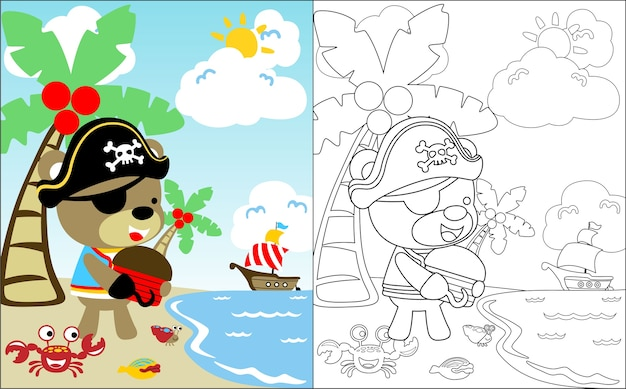 Śliczna pirat kreskówka w skarb wyspie
