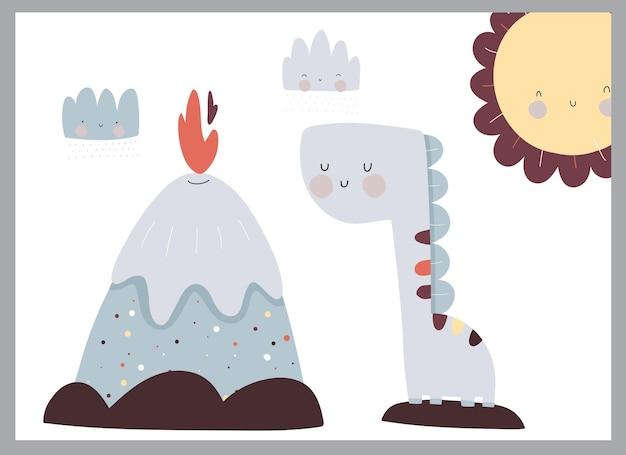 Śliczna płaska ilustracja dinozaurów dla dzieci