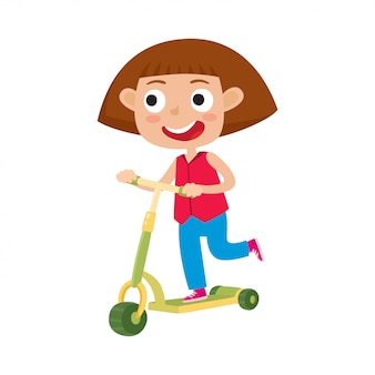 Śliczna pojęcie ilustracja mała dziewczynka ma zabawę outside. szczęśliwego dziecka jeździeckie kopnięcie hulajnoga outdoors. przerwa wakacyjna, dziewczyna w koszuli i dżinsy o wolnym czasie na białym tle