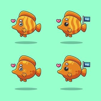 Śliczna pomarańczowa nemo ryba kreskówka w morzu świętuje światowego dzień oceanu