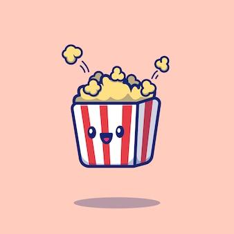 Śliczna popkorn kreskówki ikony ilustracja. ikona jedzenie koncepcja na białym tle. płaski styl kreskówek