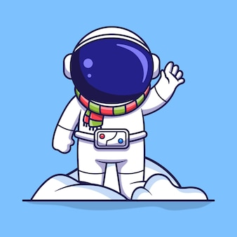 Śliczna postać astronauty stoi na stosie śniegu i macha. płaski styl kreskówki