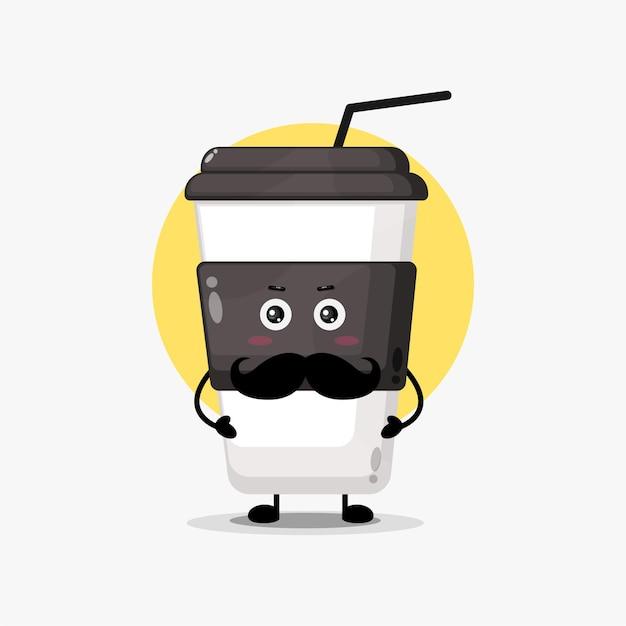 Śliczna postać filiżanki kawy z wąsami