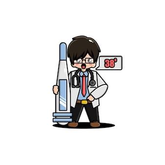 Śliczna postać lekarza z termometrem