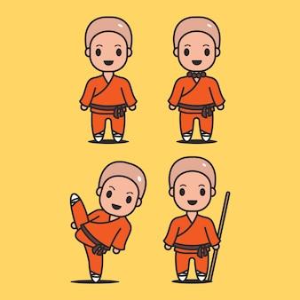 Śliczna postać mnichów shaolin
