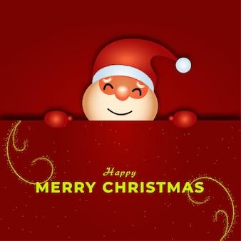 Śliczna postać świętego mikołaja trzymająca kartkę świąteczną