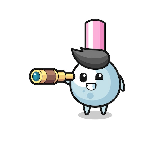 Śliczna postać wacika trzyma stary teleskop, ładny styl na koszulkę, naklejkę, element logo