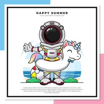 Śliczna postać z kreskówki astronauty noszącego boje jednorożca na plaży z życzeniami szczęśliwego lata