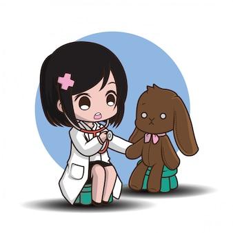 Śliczna postać z kreskówki lekarka.