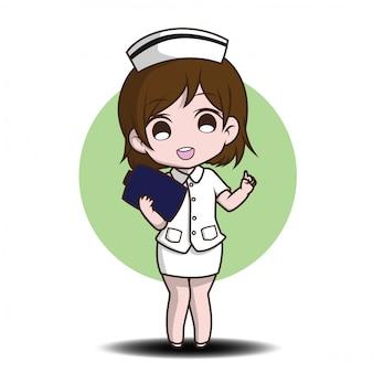 Śliczna postać z kreskówki pielęgniarka.