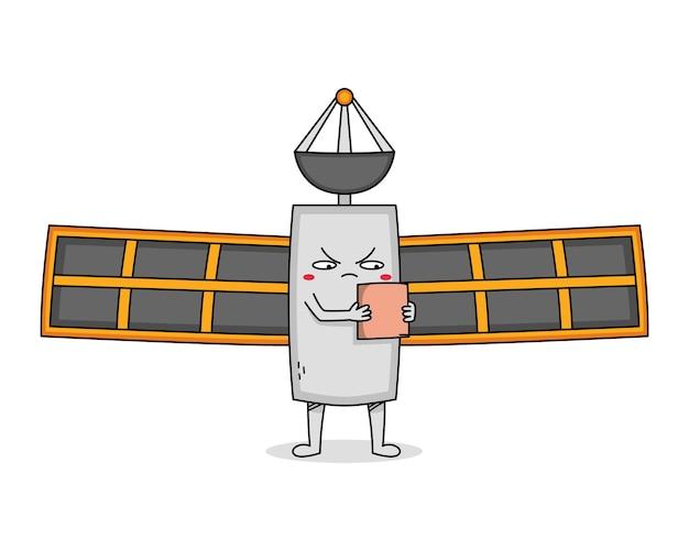 Śliczna postać z kreskówki satelity wyglądająca na zirytowaną