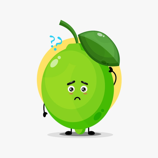 Śliczna postać z limonki jest zdezorientowana