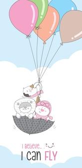 Śliczna postać zwierzęca kreskówka lata z balonem