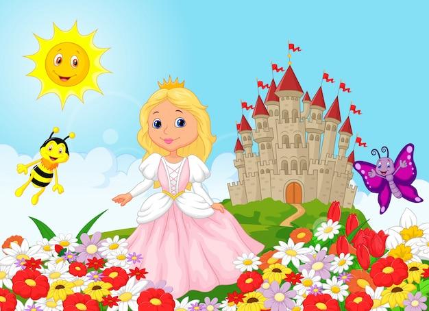 Śliczna princess w kwiecistym ogródzie