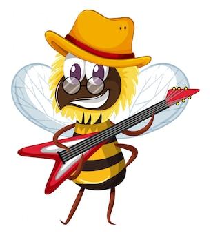 Śliczna pszczoła bawić się elektroniczną gitarę