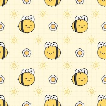 Śliczna pszczoła i kwiatu bezszwowy deseniowy tło