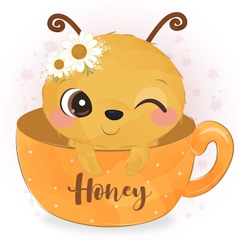 Śliczna pszczoła ilustracja w akwareli
