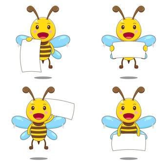 Śliczna pszczoła z pustym znakiem papieru na białym tle