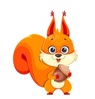 Śliczna puszysta wiewiórka trzymająca żołądź zabawną postać z kreskówki
