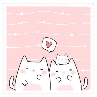 Śliczna pyzata rodzinna kota kreskówki doodle rama