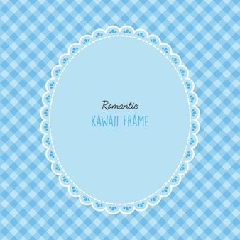Śliczna ramka kawaii z bezszwowym wzorem
