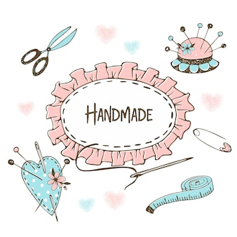 Śliczna ramka w stylu doodle na temat robótek ręcznych szycia i krawiectwa.