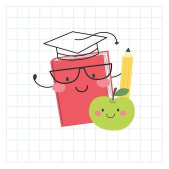 Śliczna ręcznie rysowana książka i jabłko na dzień nauczycieli na początku roku szkolnego szczęśliwe postacie