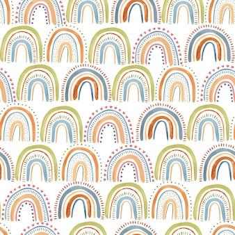 Śliczna ręka akwarela utopić wzór w kolorowe pastelowe tęcze