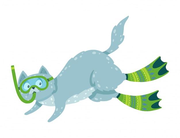 Śliczna ręka rysująca ilustracja z pływackim kotem. kot nurkuje w płetwach i masce.
