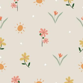Śliczna ręka rysująca kwitnie bezszwowego deseniowego tło