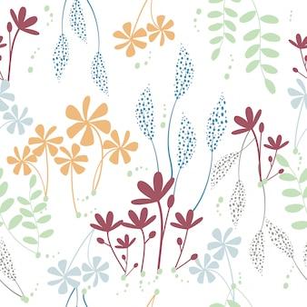Śliczna ręka rysująca kwitnie bezszwowego wzór