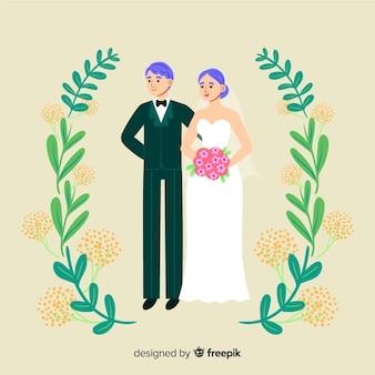 Śliczna ręka rysująca ślub para