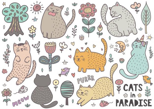 Śliczna ręka rysujący doodle koty. kolekcja zabawnych kociąt
