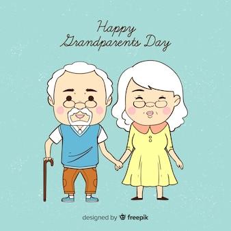 Śliczna ręka rysujący dziadka dnia tło
