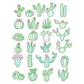 Śliczna ręka rysujący kaktus bez garnka koloru zarysowanej ilustraci.