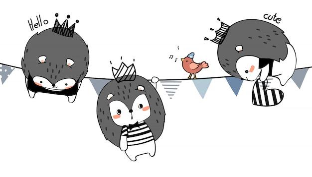 Śliczna ręka rysuje dzikiego zwierzęcia rodzinnego powitania kreskówki doodle tapetę