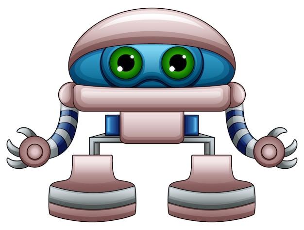 Śliczna robot kreskówka z zielonymi oczami odizolowywającymi