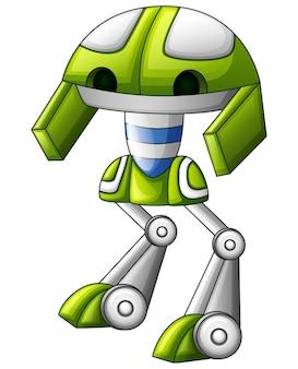 Śliczna robot zieleni kreskówka odizolowywająca na białym tle