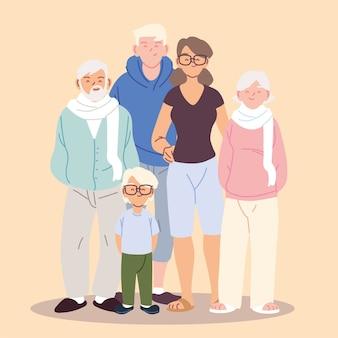 Śliczna rodzina, rodzice, dziadkowie i projekt ilustracji chłopca