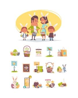 Śliczna rodzina w uszach królika trzyma kosze z jajami wesołych świąt wielkanocnych wiosennych uroczystości pozdrowienia kolekcja plakatów pionowe pełnej długości ilustracja