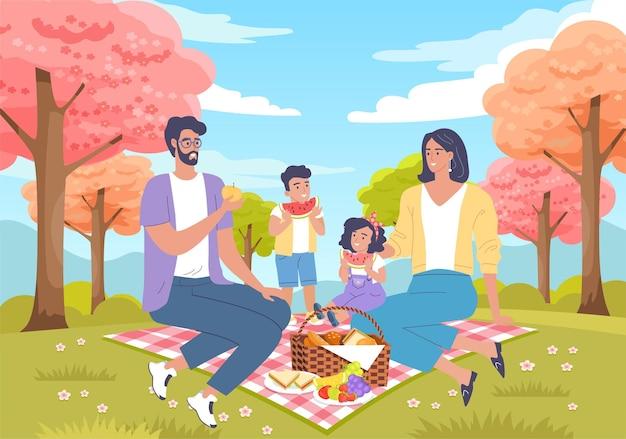 Śliczna rodzina z dwójką dzieci piknik kreskówka wektor ilustracja