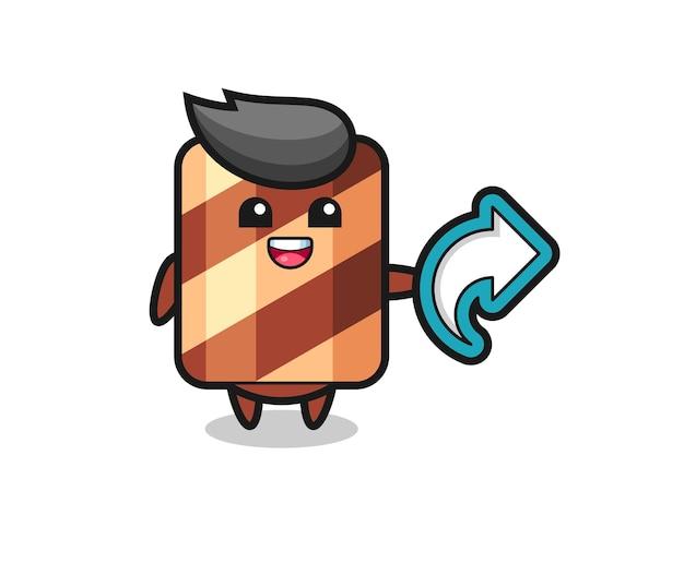 Śliczna rolka waflowa trzyma symbol udostępniania mediów społecznościowych, ładny styl dla t shirt, naklejki, elementu logo