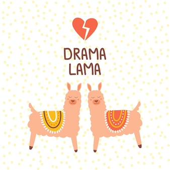 Śliczna różowa dramatyczna lama ilustracja wydrukuj w płaskim, ręcznie rysowanym stylu