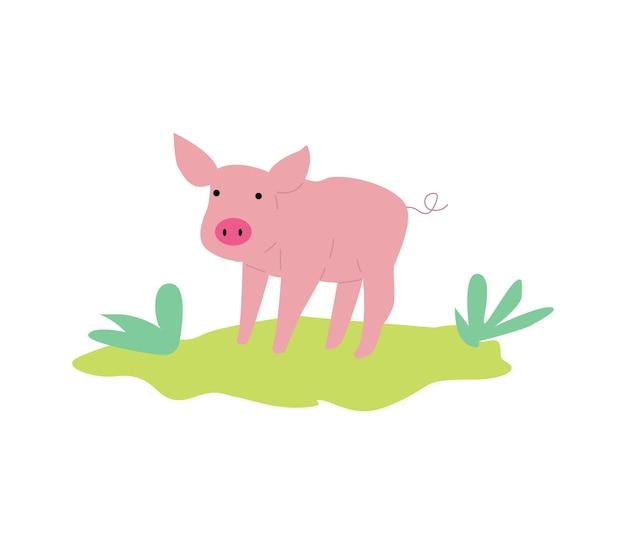 Śliczna różowa świnia lub prosiaczek lub ikona płaskie wektor ilustracja na białym tle
